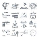 O grupo de linha fina ícones molha o transporte e o porto marítimo, plataforma ilustração stock