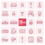 O grupo de linha fina simples ícones do vetor da mobília da casa do projeto ajustou-se para a Web Fotos de Stock Royalty Free