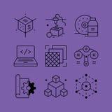 O grupo de linha vectors ícones no estilo liso ilustração royalty free