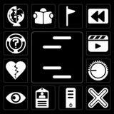 O grupo de linhas, multiplica, servidor, cartão da identificação, vista, controle de volume, D ilustração royalty free