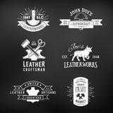 O grupo de logotipo do ofício do vintage projeta, genuíno retro ilustração stock