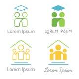 O grupo de logotipos do vetor relacionou-se à educação e à aprendizagem Imagens de Stock Royalty Free