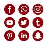 O grupo de logotipos sociais populares dos meios vector o ?cone da Web Internet, facebook ilustração stock