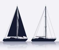 O grupo de luxo yachts a silhueta ilustração do vetor