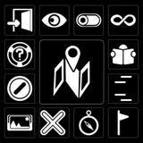 O grupo de mapa, bandeira, compasso, multiplica, representa, as linhas, proibidas, ilustração do vetor