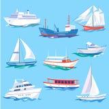 O grupo de mar envia o transporte da água e o transporte marítimo ilustração do vetor