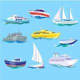 O grupo de mar envia o transporte da água e o transporte marítimo ilustração stock