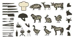 O grupo de menu do BBQ e da grade projeta elementos Fotos de Stock Royalty Free