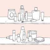 O grupo de molde vazio compõe o vetor tirado mão dos cosméticos Fotografia de Stock Royalty Free