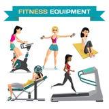 O grupo de mulheres contratou no exercício no gym Desenhos animados lisos do vetor ilustração royalty free