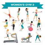 O grupo de mulheres contratou no exercício no gym Parte 2 Vetor liso ilustração do vetor