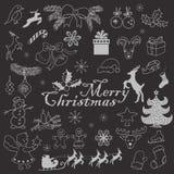 O grupo de Natal objeta em um fundo escuro Ilustração do esboço do desenho da mão do vetor ilustração stock