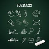 O grupo de negócio rabisca, mão dos ícones do vetor tirada com giz Foto de Stock Royalty Free