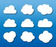 O grupo de nuvem dado forma molda a ilustração do vetor Fotos de Stock