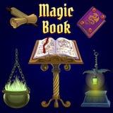 O grupo de objetos para a feitiçaria e de seances espiritualistas no fundo roxo Um cartaz no tema do feriado ilustração stock