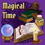 O grupo de objetos para a feitiçaria e de seances espiritualistas no fundo roxo Um cartaz no tema do feriado ilustração royalty free