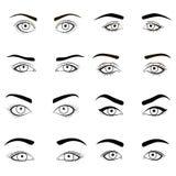 O grupo de olhos fêmeas e as testas enegrecem a imagem A ilustração do vetor para o projeto do encanto da saúde com belamente for ilustração do vetor