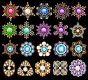 o grupo de ornamento dos pendentes do vintage da joia feito de seja Fotos de Stock