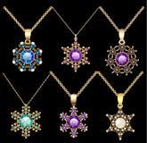 o grupo de ornamento dos pendentes do vintage da joia feito de seja ilustração do vetor
