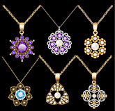 o grupo de ornamento dos pendentes do vintage da joia feito de seja ilustração royalty free