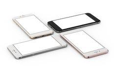 O grupo de ouro de quatro smartphones, aumentou, prata e preto fotos de stock
