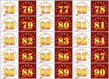 O grupo de ouro numera de 76 a 90 e da palavra do ano Imagens de Stock Royalty Free