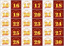 O grupo de ouro numera de 16 a 30 e da palavra do ano Imagens de Stock