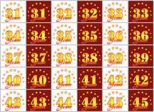 O grupo de ouro numera de 31 a 45 e da palavra do ano Imagens de Stock