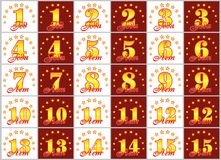 O grupo de ouro numera de 1 a 15 e da palavra do ano Imagens de Stock