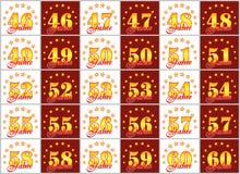 O grupo de ouro numera de 46 a 60 e da palavra do ano Imagens de Stock Royalty Free
