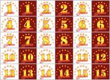 O grupo de ouro numera de 1 a 15 e da palavra do ano Fotos de Stock Royalty Free
