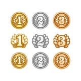 O grupo de ouro, a prata e o bronze concedem medalhas no branco Imagem de Stock