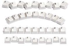 O grupo de palavra subscreve dos botões do teclado de computador isolados no fundo branco Fotografia de Stock Royalty Free