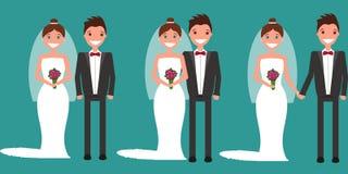 O grupo de pares do recém-casado ilustração stock