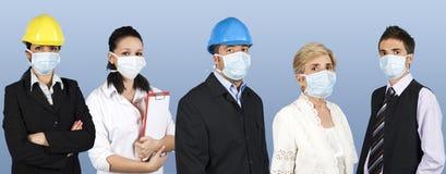 O grupo de pessoas protege da gripe Fotos de Stock Royalty Free