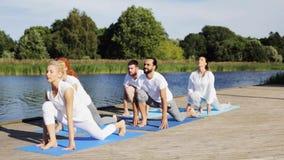 O grupo de pessoas que faz a ioga exercita fora vídeos de arquivo