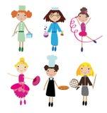 O grupo de povos diferentes das profissões isolados no fundo branco vector a ilustração Fotos de Stock Royalty Free