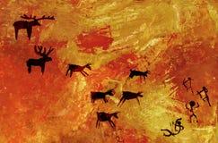 O grupo de povos primitivos caça um rebanho de animais hoofed dos cervos e dos alces Stylization da arte da rocha da caverna fotografia de stock royalty free