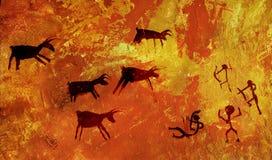 O grupo de povos primitivos caça um rebanho de animais hoofed dos cervos e dos alces Stylization da arte da rocha da caverna foto de stock