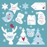 O grupo de presente do Natal liso do projeto e do ano novo etiqueta Foto de Stock