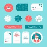 O grupo de presente do Natal liso do projeto e do ano novo etiqueta Imagem de Stock