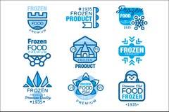 O grupo de produtos alimentares congelado de moldes do logotipo entrega ilustrações tiradas do vetor em cores azuis ilustração stock