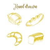 O grupo de produtos da padaria entrega a esboço tirado o pão diferente dos tipos Imagens de Stock Royalty Free