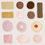 O grupo de produtos do pão, artigos da padaria projeta Ilustração Stock