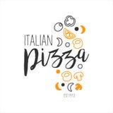 O grupo de promoção italiana do menu do café da rua do fast food da pizza da qualidade superior dos ingredientes assina dentro mã Foto de Stock