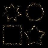 O grupo de quadros do vetor do brilho do ouro, a poeira de estrela na estrela do círculo e o quadrado dão forma Imagem de Stock Royalty Free