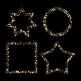 O grupo de quadros do vetor do brilho do ouro, a poeira de estrela na estrela do círculo e o quadrado dão forma Foto de Stock Royalty Free