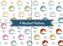 O grupo de quatro testes padrões com origâmi forra barcos ou os navios diferem dentro Fotos de Stock