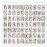 O grupo de runas escandinavas dos noruegueses velhos cinzelou na madeira Alfabeto rúnico, futhark Símbolos ocultos antigos, letra Fotos de Stock