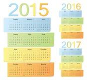 O grupo de russo 2015, 2016, 2017 colore calendários do vetor Fotos de Stock